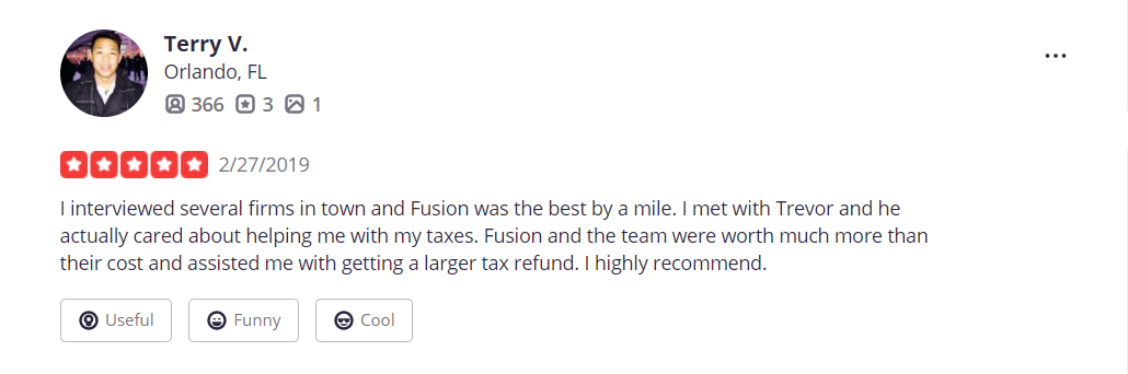 Fusion CPA Yelp review